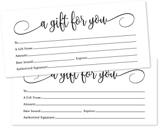 25 4x9 White Blank Gift Certificate Cards Vouchers for Holiday, Christmas, Birthday Holder, Small Business, Restaurant, Spa Beauty Makeup Hair Salon, Wedding Bridal, Baby Shower Cash Money Printable