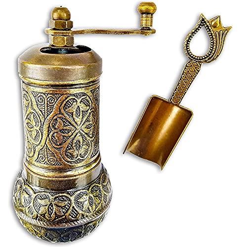 Pepper & Salt Grinder - Turkish Coffee Mill - With Antique Looking Spoon - Salt Shaker - Zinc Alloy Casting Best Carving Metal - Adjustable Coarseness (Bronze)