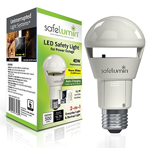 safelumin SA19-450U27 LED Emergency Light Bulbs for Home Safety during a Power Outage or Power Failure, Battery Backup lasts 3 Hours, 40W Equivalent 470lm (2700K Warm White)