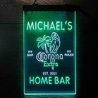 Coronas Extra Parrot Bird Palm Tree パーソナライズされたマイホームバーの装飾 Decor LED看板 ネオンサイン バーライト 電飾 ビールバー 広告用標識 白色 + 緑色 W40cm x H60cm