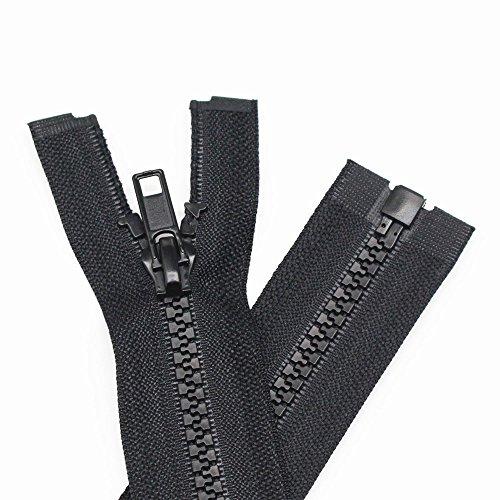 YaHoGa 2 piezas 80 cm # 5 separación cremalleras para chaqueta coser abrigos cremallera negro cremalleras de plástico moldeado (80 cm 2 piezas)