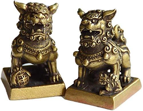 LHMYGHFDP Feng Shui Statues Desktop Ornaments Copper Animal Miniature Figurine Lucky Brass Lion Statue Feng Shui Decoration 1 Pair