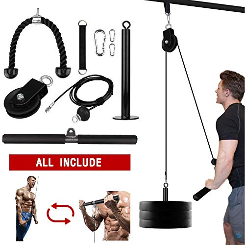 Elevtab Fitness LAT and Lift Pulley System, Cable Machine with Upgraded Loading Pin for Triceps Pull...