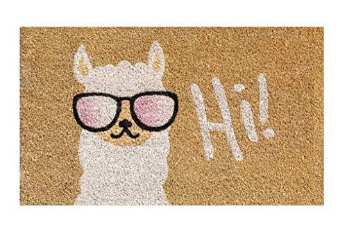 Schmutzfangmatte Fußmatte Fussmatte Fußabstreifer Fußabtreter Kokos Kokosmatte Schmutzmatte Fußabstreifer Schuhmatte Motiv Lama Hi - Größe : 40 x 60 cm