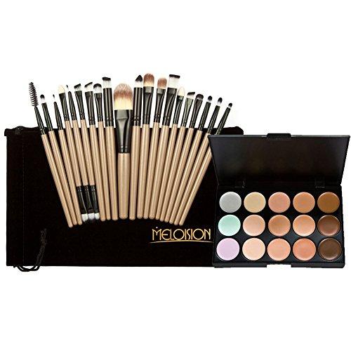 La Cabina 15 Couleurs Palette de Maquillage Fond de Teint Contour Yeux+ 20 PCS Pinceaux Brosse de Maquillage pour Visage Yeux Joue Lèvres + Sachet en Flanelle