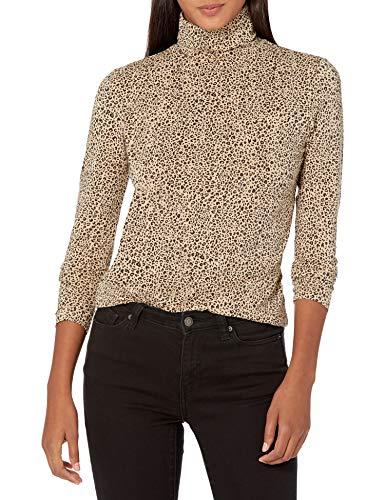 Amazon Essentials Long-Sleeve Turtleneck Top Fashion-t-Shirts, Mini Leopardo, XL