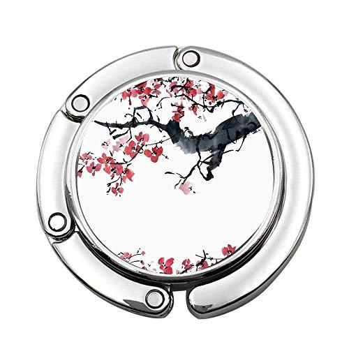 Aquarell Tinte Pflaumenblüte auf Zweigen Benutzerdefinierte Geldbörse Haken Faltbare Handtasche Kleiderbügel Klapptisch Kleiderbügel