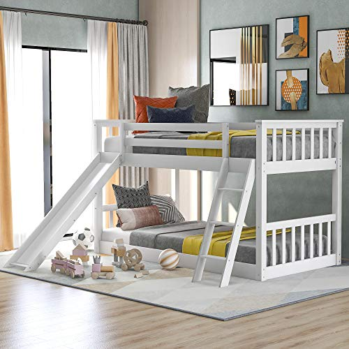 Merax Twin Over Twin Bunk Bed with Removable Slide and Ladder for Kids Child, Solid Wood Low Bunk Bed Frame (White)