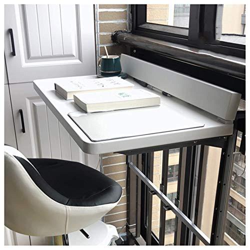 Balkon Opklapbare Tafel, Wit Zwevend Bureau Wandgemonteerde Bartafel Reling Muur Hangend Bureau Buiten Vrijetijdstafel - Stabiel En Duurzaam (Maat: 80 & Keer; 40Cm, Kleur: Wit)