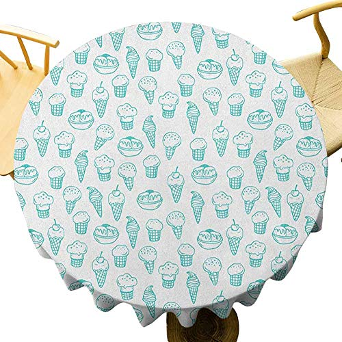 VICWOWONE - Mantel redondo moderno de 50 pulgadas, diseño de helado, estilo abstracto y color fresco de verano, uso diario, color turquesa y blanco