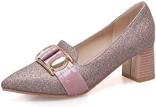 BalaMasa Womens APL11607 Pu Block Heels