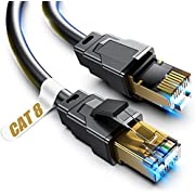 Cat 8 Ethernet Cable, 5ft Heavy Duty High Speed Internet Network Cable, Professional LAN Cable, 26AWG, 2000Mhz 40Gbps with Gold Plated RJ45 Connector, Shielded in Wall, Indoor&Outdoor
