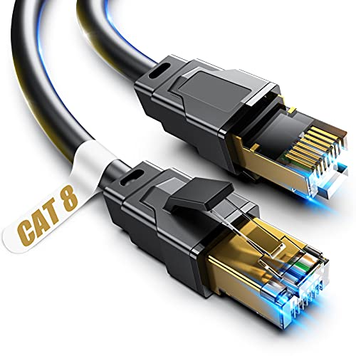 Cat 8 Ethernet Cable, 50ft Heavy Duty High Speed Internet Network Cable, Professional LAN Cable, 26AWG, 2000Mhz 40Gbps with Gold Plated RJ45 Connector, Shielded in Wall, Indoor&Outdoor