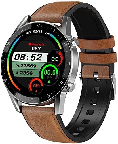 wyingj Reloj Inteligente 1.3 Pulgadas IPS Pantalla Completa Color Llamada Bluetooth Deportes Podómetro Inteligente Reproductor de Música Multi-Deportes Pulsera Impermeable - Plata Marrón