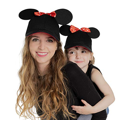 Disney Toddler Minnie Mouse Ears Hat, Set of 2 for Mommy and Me, Matching Little Baseball Caps, Adult and Girl 2-5, Age 2-4 Years