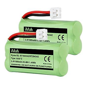 iMah BT184342/BT284342 BT18433/BT28433 Phone Battery Compatible with AT&T BT184342 BT18433 BT1011 BT1018 BT1022 BT1031 BT8300 CS6209 CS6219 CS6228 CS6229 Vtech DS6301 CL80109 CS6209 TL90078 Pack of 2