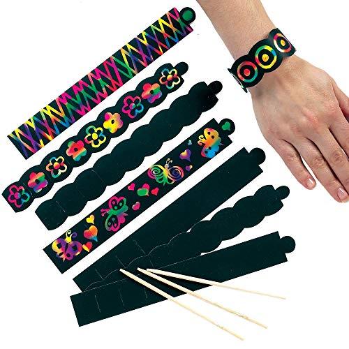 Baker Ross Kratzbild-Armbänder (12 Stück) perfekt als Mitgebsel für Kinder