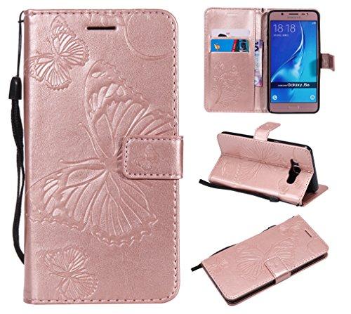 WindTeco Funda Samsung Galaxy J5 2016, Mariposa Patrón Carcasa Cartera Flip de Piel PU Libro Billetera Shock-Absorción con Ranuras de Tarjeta para Samsung Galaxy J5 2016, Oro Rosa