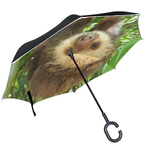 Alaza Cute Baby Faultier Aufhängen Baum seitenverkehrt Regenschirm Double Layer Winddichte Rückseite Faltbarer Regenschirm für Auto mit C-förmigem Henkel