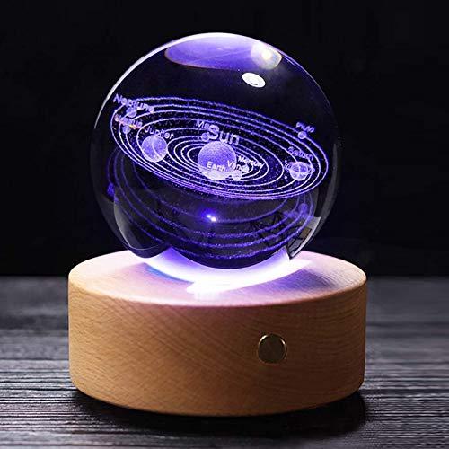 Furniture Life Boule de Cristal 3D avec système Solaire, Boule de décoration à la Maison et au Bureau, Cadeau pour Un Anniversaire, Les Enfants, Les Amateurs d'astronomie (3,15 Pouces)