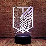 3D Illusion Attack on Titan Merch Night Light LED Anime Desk Lamp 16 Colors Change Remote Control AOT Home Lighting for Kids
