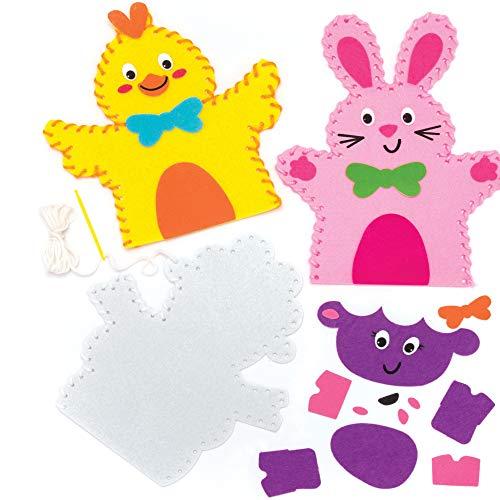 """Baker Ross Handpuppen-Nähsets """"Ostern"""" (3 Stück) – Bastelidee zu Ostern für Kinder zum Gestalten und Theaterspielen"""