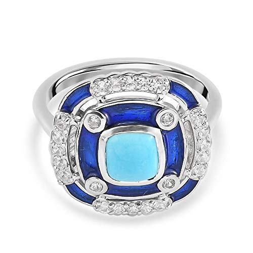 TJC Sleeping Beauty Turquoise and Zircon Art Deco Ring for Womens in Platinum Plated 925 Sterling Silver Size N Blue Coloured December Birthstone, TCW 1.25ct