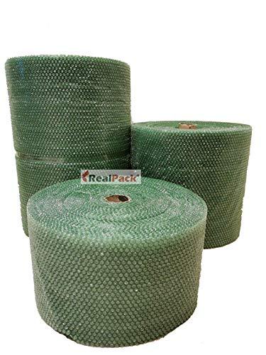 Realpack - Rotolo di pluriball riciclabile, antistatico, ecologico, 300 mm x 20 m, 500 mm, 750 mm, colore: Verde