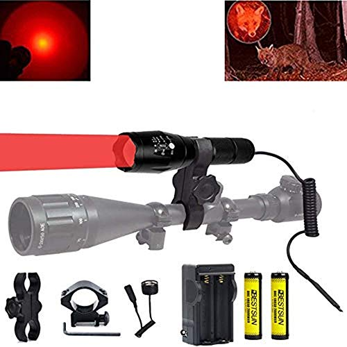 BESTSUN 350 Yard Red Light Predator Light Zoomable Long Range Night Hunting Coyote Varmint Light Tactical Hunting Led Flashlight with Pressure Switch, Picatinny & Scope Mounts, Rechargeable Batteries