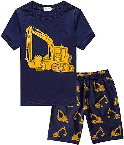 Schlafanzug Jungen Kurz Kinder Sommer Zweiteiliger Baumwolle Dinosaurier Bagger Motorrad Flugzeug Kurzer Pyjamas Nachtwäsche 92 98 104 110 116 122