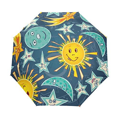 WowPrint Winddichter kompakter Regenschirm, lustige Emoji-Galaxie, Sonne, Mond, Stern, Auto, tragbar, leicht, Reise-Regenschirme für einfaches Tragen