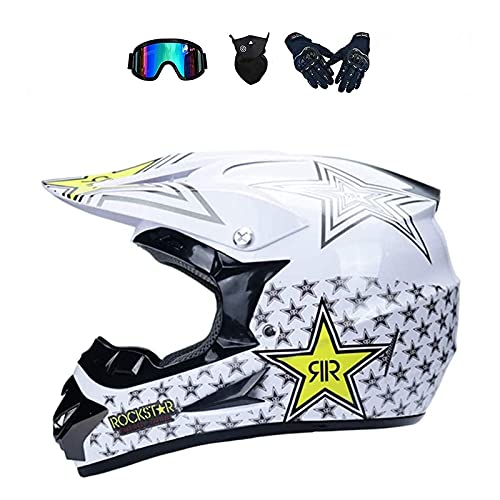 Junqin Casco de Motocicletas de la Cara Completa, Motocross Adult Motoccycle Helmet MX ATV Scooter, con Gafas Gloves Máscara, Certificación ECE (L)-rose11||XL