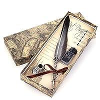 ペン 美しいカラーグースの羽ペンヴィンテージフェザーディップライティングインクのペンセットステーショナリーギフト10色クイル万年筆 万年筆 (Color : グレー, Size : フリー)