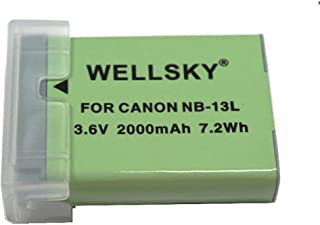 [WELLSKY] Canon キヤノン NB-13L 互換バッテリー [ 純正充電器で充電可能 残量表示可能 ] PowerShot G7 X / Power Shot G7 X Mark II / Power Shot G9 X Mark II / PowerShot SX630 HS / Power Shot SX720 HS / Power Shot SX730 HS / PowerShot G5 X / PowerShot G9 X / PowerShot SX620 HS