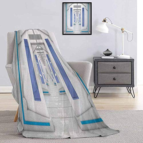 Toopeek Outer Space Children's blanket Robotic Space Mission Vehicle Solar System Journey Universe Milky Way Inspired Lightweight soft warm and comfortable W70 x L90 Inch Blue White