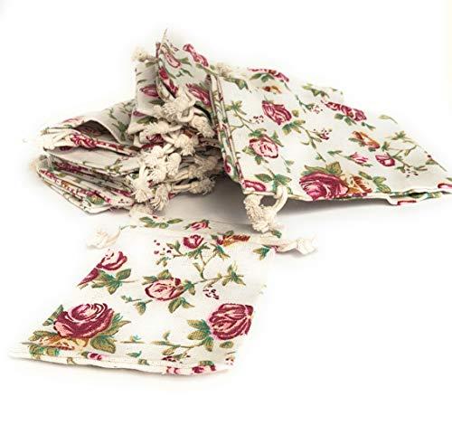 【 リネン 巾着袋 小 13.2×9.4cm 】きんちゃく袋 小分け袋 プレゼント おすそ分け 洗濯可 再利用可 米国製 (25袋)