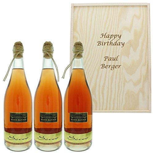 3 Flaschen Baden-Badener Secco Rosé in Wein-Holzkiste mit Ihrer persönlichen Gravur