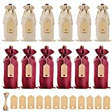 Bolsa de Regalo Para Botella de Vino de Lino, Bolsa de Vino de Lino Con Cordón de Vino de 12PCS, Utilizada Para Fiestas, Bodas, Decoración de Botellas de Vino (Rojo y Amarillo)