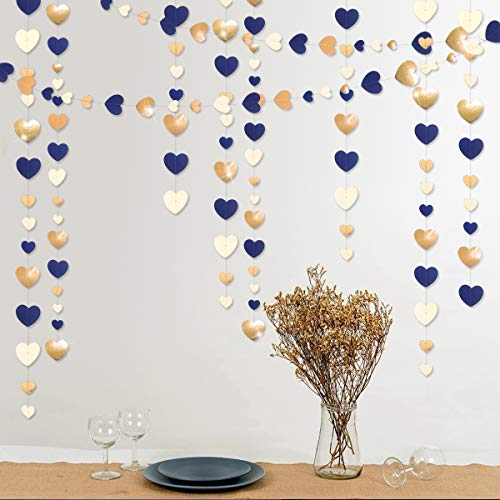 52 Ft Valentine's Day Navy Blue Beige Gold Party Decorations Love Heart Hanging Paper Garland Streamer Banner for Bachelorette Engagement Wedding Birthday Bridal Shower Anniversary Party (4pack)