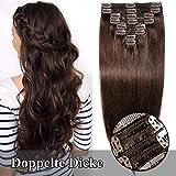 TESS Clip in Extensions Echthaar Haarteile guenstig Haarverlängerung Doppelt Tressen für komplette Haarextension 8 Teile 18 Clips Glatt 7A Dick Hair (55cm-160g, 2 Dunkelbraun)