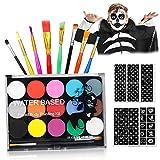 Pinceles de maquillaje Paleta cosmética Juego de maquillaje de simulación para niños, 15 colores profesional lavable seguro pintura corporal y facial para mascarada, Halloween, carnaval, Navidad