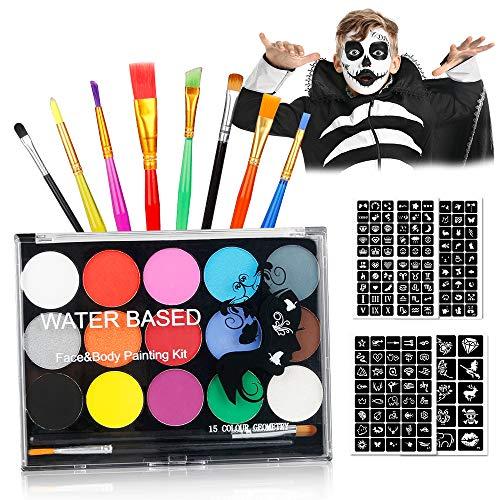 Jooheli Kit per la Pittura del Viso per Bambini, Bambini Trucco Set Makeup per Bambini Face Painting Body Kit Sicura e Non Tossica 15 Colori Kit per Masquerade Halloween, Carnevale, Natale