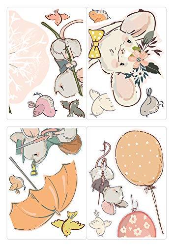 dekodino® Fenstersticker Kinderzimmer Mäuse mit Luftballons