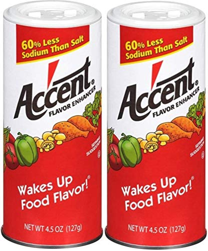 Ac'cent Flavor Enhancer 00054 All Natural 4.5 Oz. Wakes Up Food Flavor Canister (Pack of 2); Ideal for Meats, Poultry, Vegetables, Soups and Salads, Monosodium Glutamate Imparts an Umami Flavor