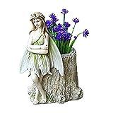 Creative Girl Flower Pot Fairy Garden Tree Stump Mini Planter Plant Pot Mini Succulents Vase Flower Fairy Garden Statue Outdoor Sculpture Miniature Girl Flower Angel Flower Pot 19x18.5x24 cm(B)