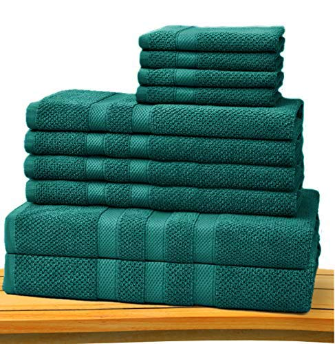 COTTON CRAFT - Rice Weave 10-Piece Towel Set Teal, Luxurious 100% Cotton, Heavy Weight & Absorbent, Set with 2 Oversized Large Bath Towels, 4 Hand Towels & 4 Wash Cloths