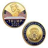 2Pcs Trump 2020 Gold Coins Keep America Great Commander in Chief Republican Donald 45th President of The United States of America