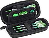 Casemaster Sentry Dart Case Slim EVA Shell for Steel and Soft Tip Darts, Hold 6 Darts and Features Built-in Storage for Flights, Tips and Shafts, Black Zipper