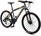 N&I 26 inch Adult Mountain Bikes 27 Speed Hardtail Mountain Bike with Dual Disc Brake Aluminum Frame Front Suspension All Terrain Mountain Bicycle