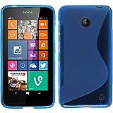 PhoneNatic Hülle für Nokia Lumia 630 Hülle Silikon blau S-Style Cover Lumia 630 Tasche + 2 Schutzfolien